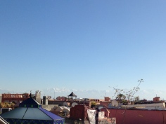 Rooftop view of the Atlas Mountains